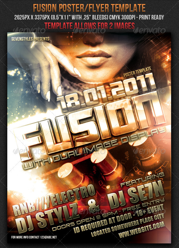 Fusion Poster/Flyer Template - Clubs & Parties Events