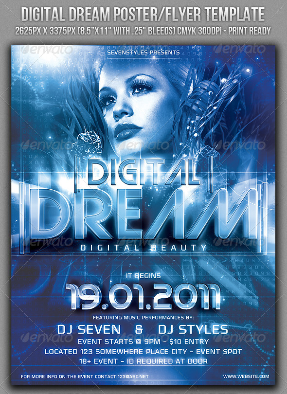 Digital Dream Poster/Flyer Template - Clubs & Parties Events
