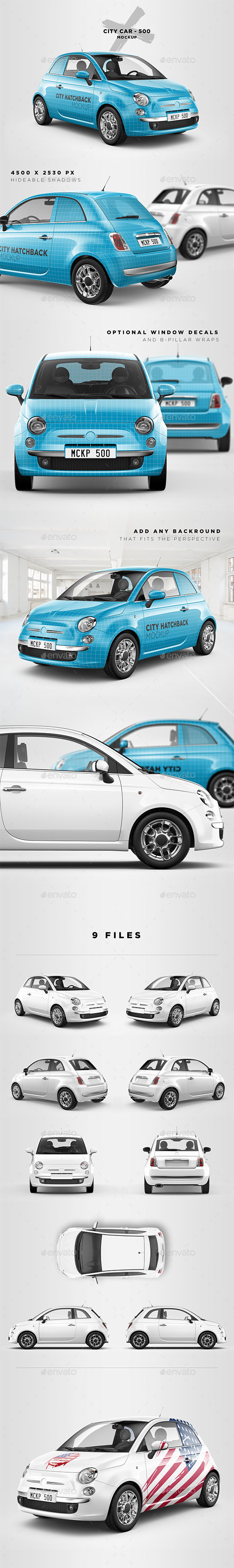 City Car 500 Mockup - Vehicle Wraps Print
