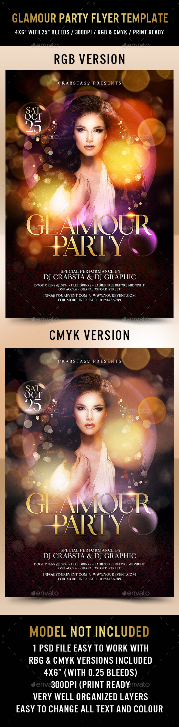 Glamour Party Flyer Template - Flyers Print Templates