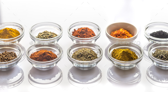 Different kinds of spices and herbs - Stock Photo - Images