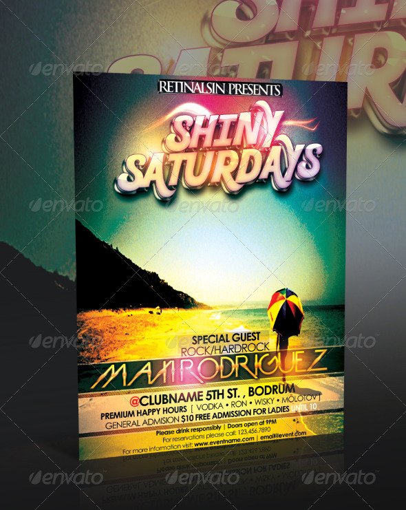 Shiny Saturdays Flyer Template - Clubs & Parties Events