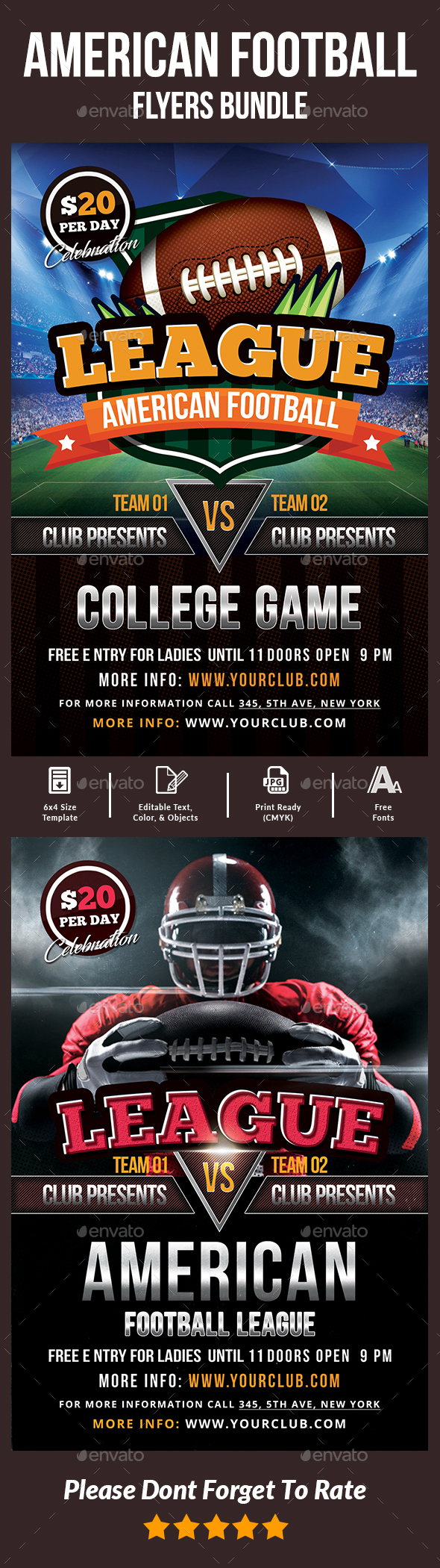 GraphicRiver American Football Flyers Bundle 20614857