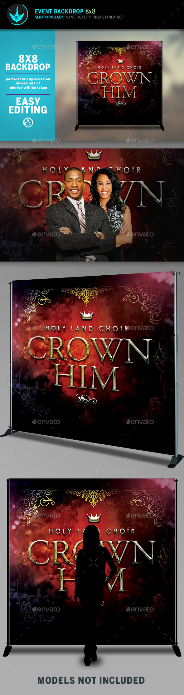 Crown Him 8x8 Event Backdrop Template - Signage Print Templates
