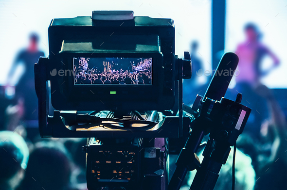 Shooting concert professional camera. View of the video camera v - Stock Photo - Images