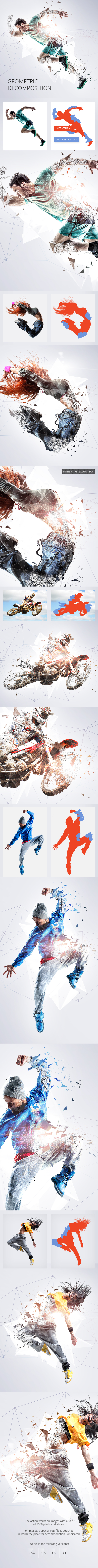 GraphicRiver Geometric Decomposition Photoshop Action 20615244