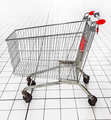 empty shopping trolley in a supermarket. - PhotoDune Item for Sale