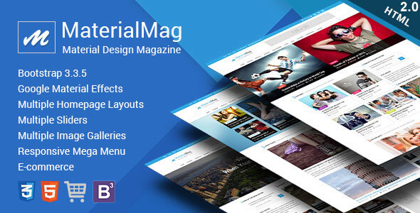 MaterialMag - Material Design Responsive Template - Entertainment Site Templates