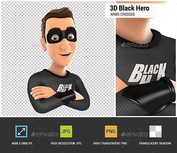 3D Black Hero with Arms Crossed - Characters 3D Renders