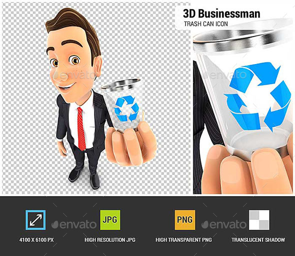 GraphicRiver 3D Businessman Holding Trash Can Icon 20615618