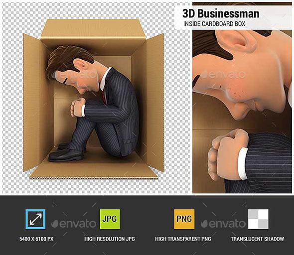 3D Businessman Inside Cardboard Box - Characters 3D Renders