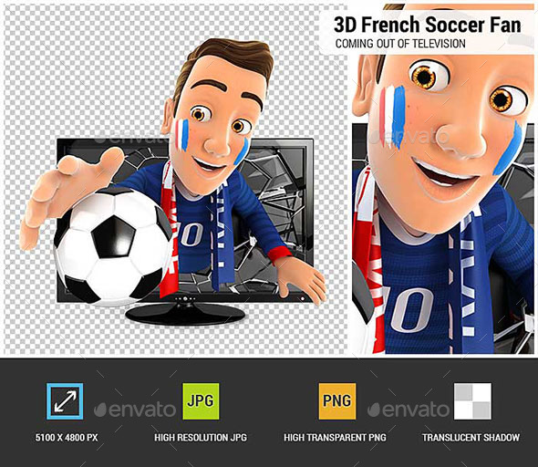 3D French Soccer Fan Coming Out of Television - Characters 3D Renders