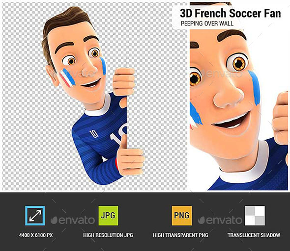 3D French Soccer Fan Peeping Over Blank Wall - Characters 3D Renders