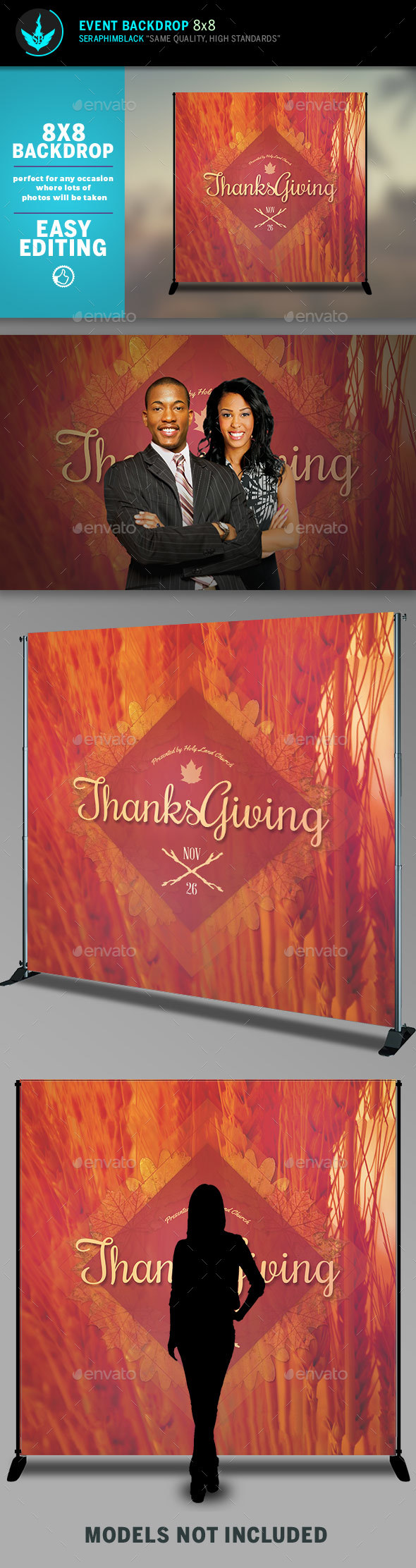 Thanksgiving 8x8 Event Backdrop Template - Signage Print Templates