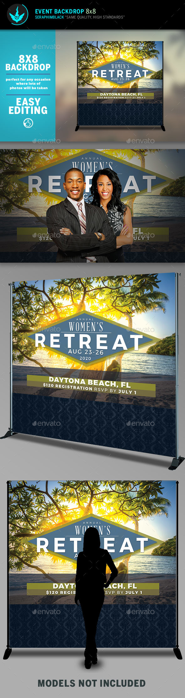 Women's Retreat 8x8 Event Backdrop Template - Signage Print Templates
