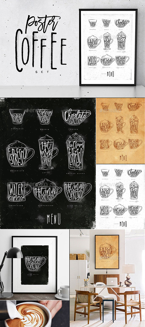 Poster Coffee Set - Food Objects