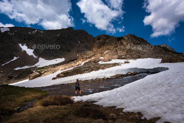 Backpacker on Mt Toll trail Below Blue Lake Colorado - Stock Photo - Images