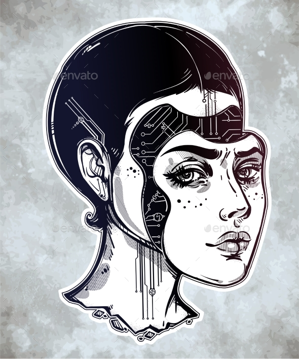 GraphicRiver Robot or Cyborg Girl Portrait Illustration 20616344