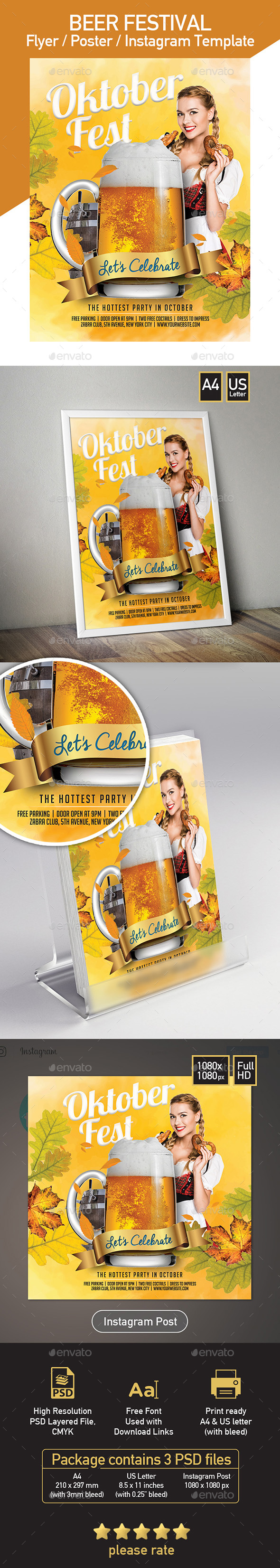 Beer Festival - Oktoberfest - Set of 3 Templates - Events Flyers