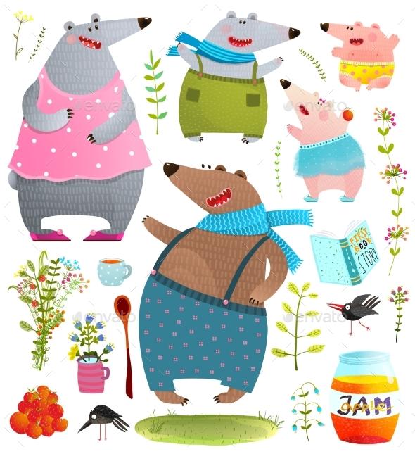 Bear Cartoon Family - Animals Characters