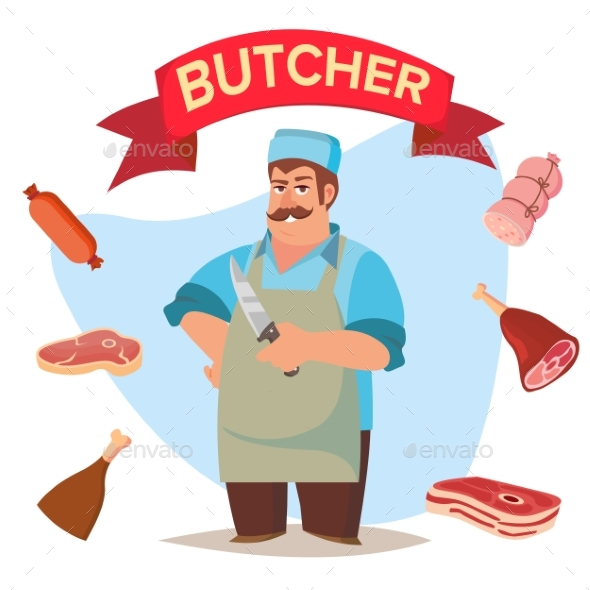 Professional Butcher Vector - People Characters