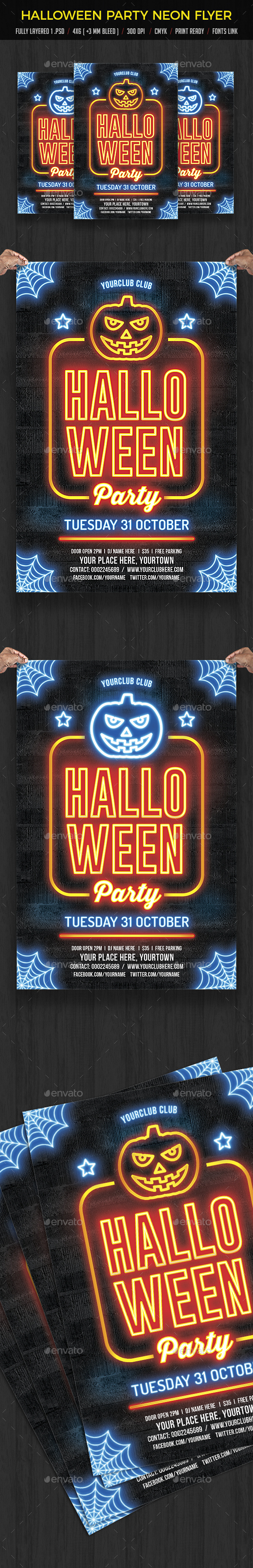 Halloween Party Neon Flyer - Events Flyers