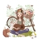 Cartoon Young Woman with Guitar and Bicycle - GraphicRiver Item for Sale