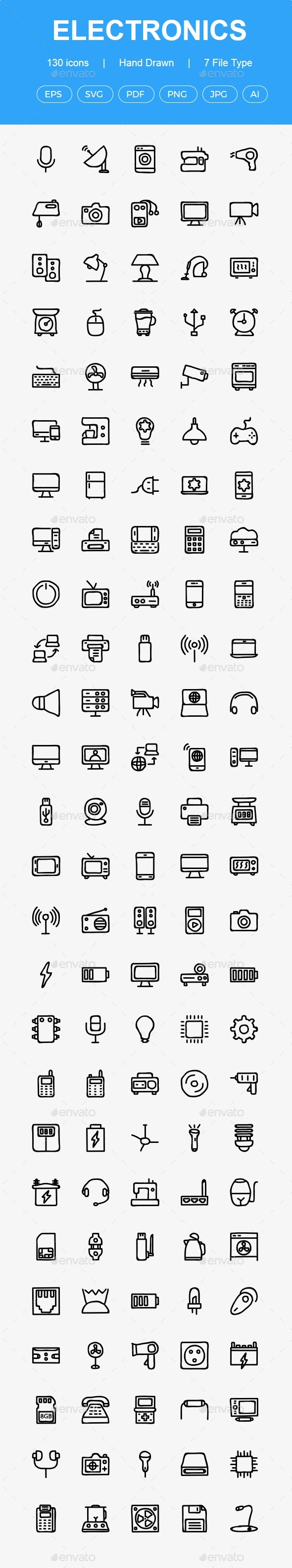 GraphicRiver Electronics Hand Drawn icons 20617020