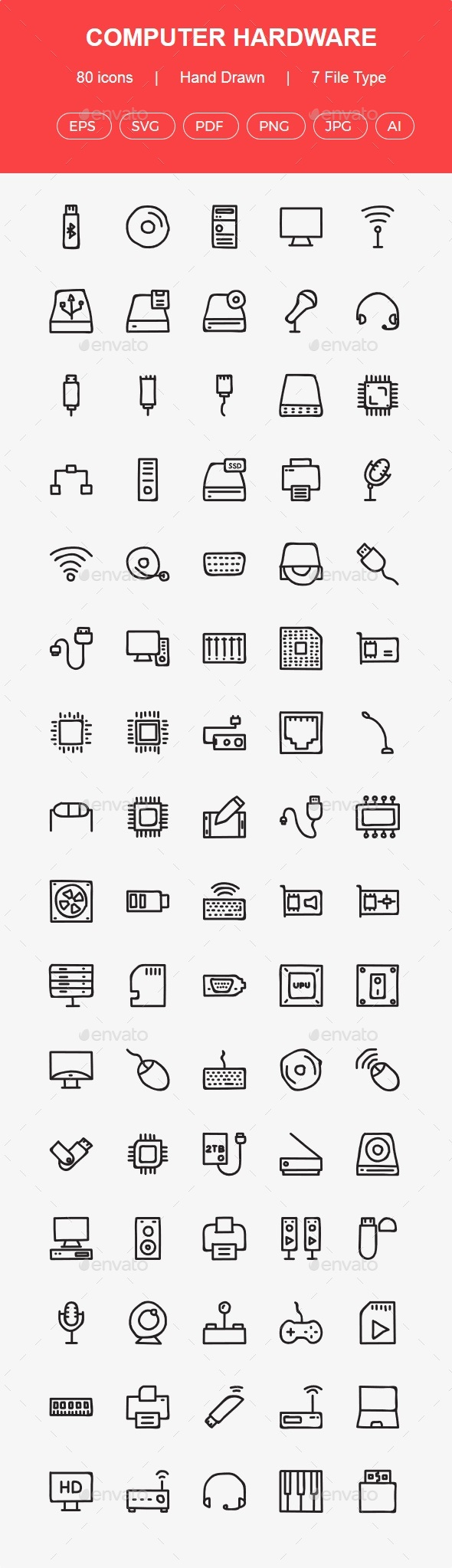 GraphicRiver 80 Computer Hardware Hand Drawn icons 20617029