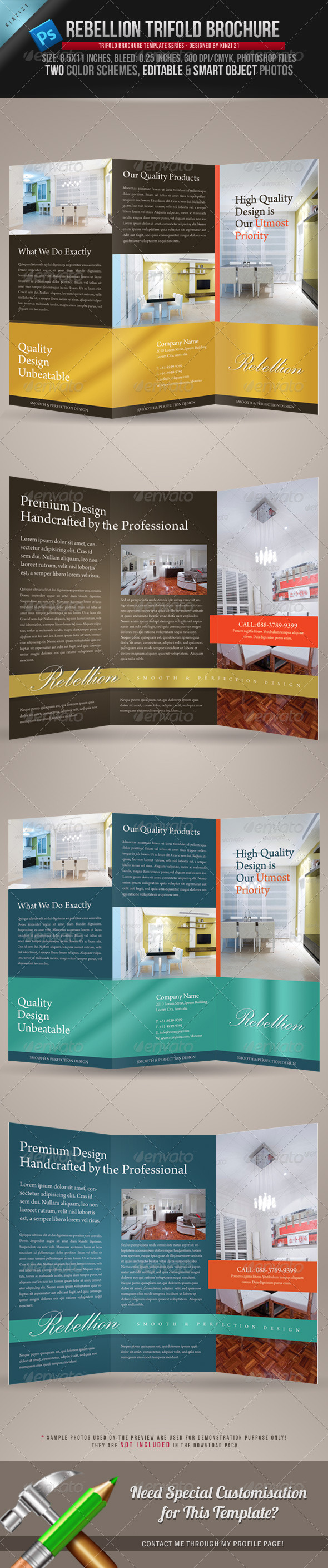 Rebellion Trifold Brochure PSD Template By Kinzi GraphicRiver - Brochure photoshop template