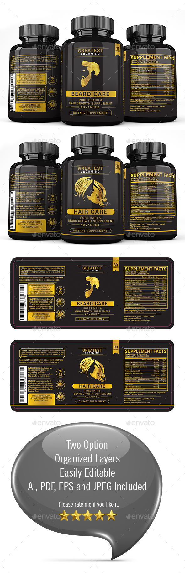 Beard & Hair Growth Supplement - Packaging Print Templates