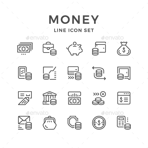 GraphicRiver Set Line Icons of Money 20617481