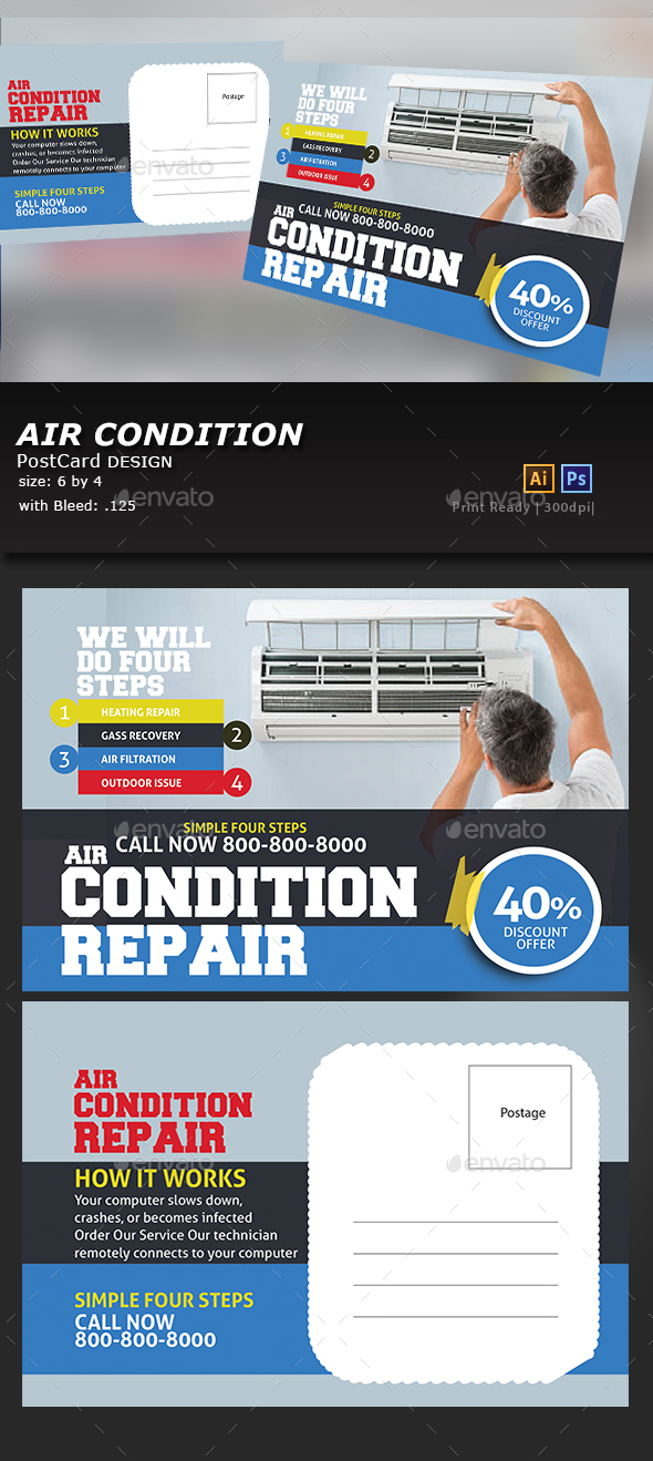 Air Conditioner PostCard - Cards & Invites Print Templates