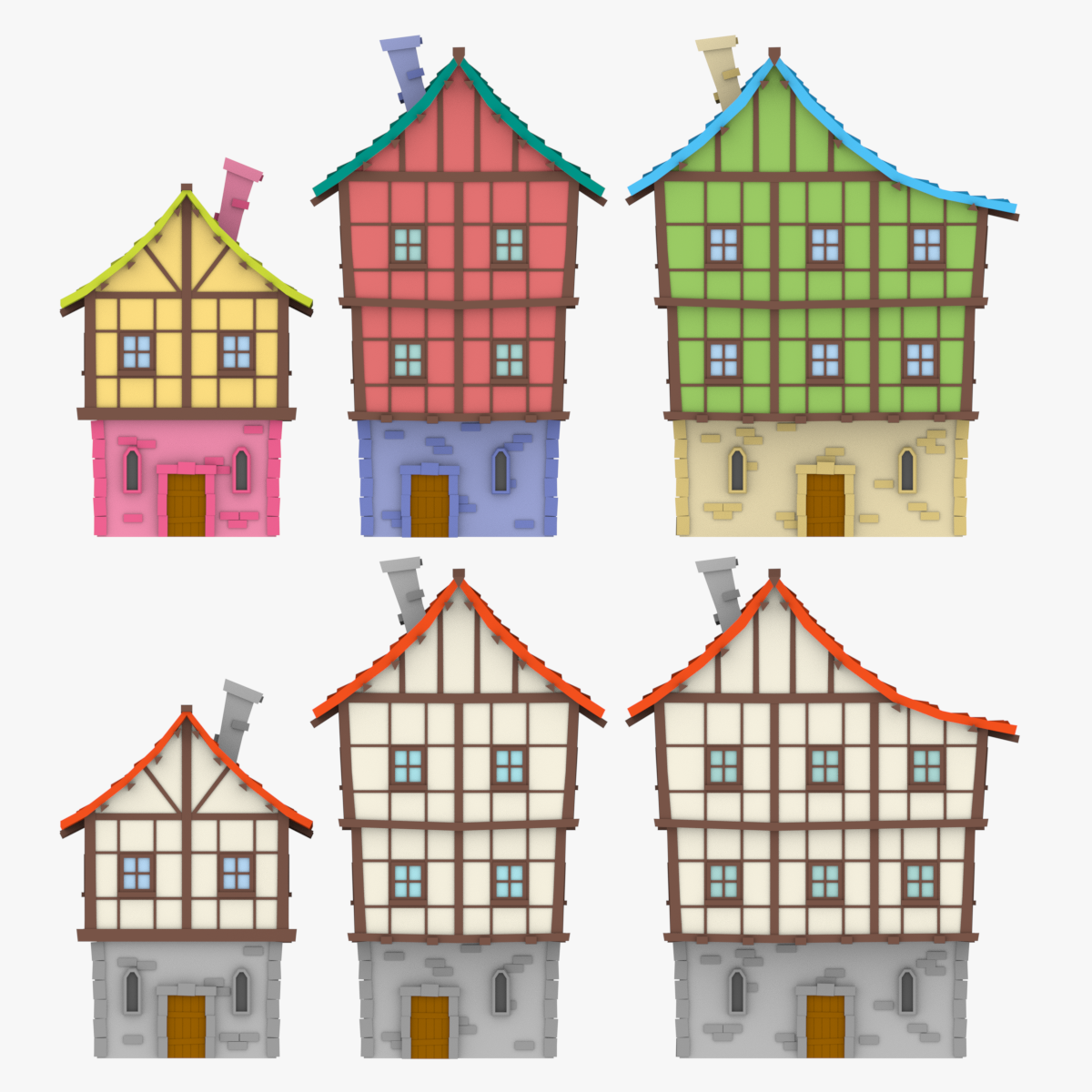 LowPoly Medieval Houses02