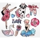 Set of Ballet Stickers, Patches or Elements.