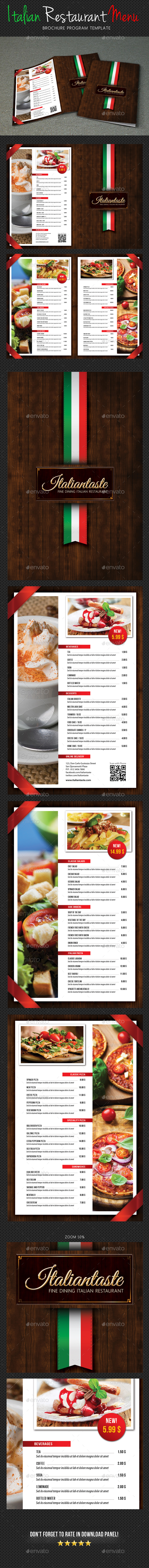 Italian Menu Restaurant Brochure - Food Menus Print Templates