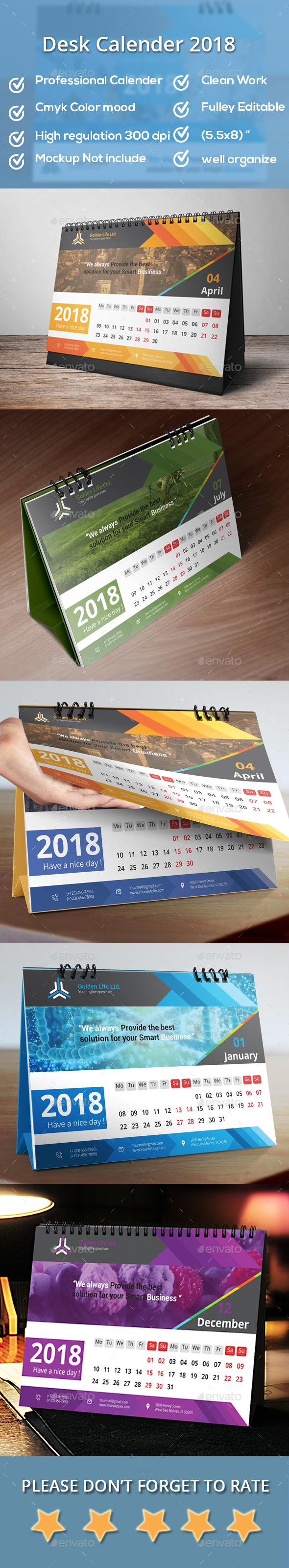 GraphicRiver Desk Calendar 2018 20618223