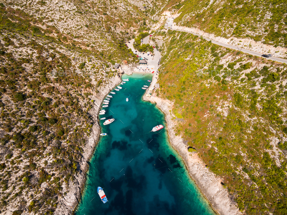 Aerial  view of Porto Vromi beach in Zakynthos (Zante) island, i - Stock Photo - Images