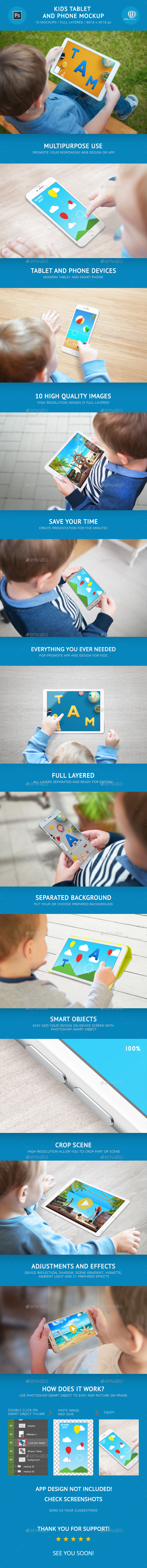 Kids Tablet and Phone Mockup - Mobile Displays