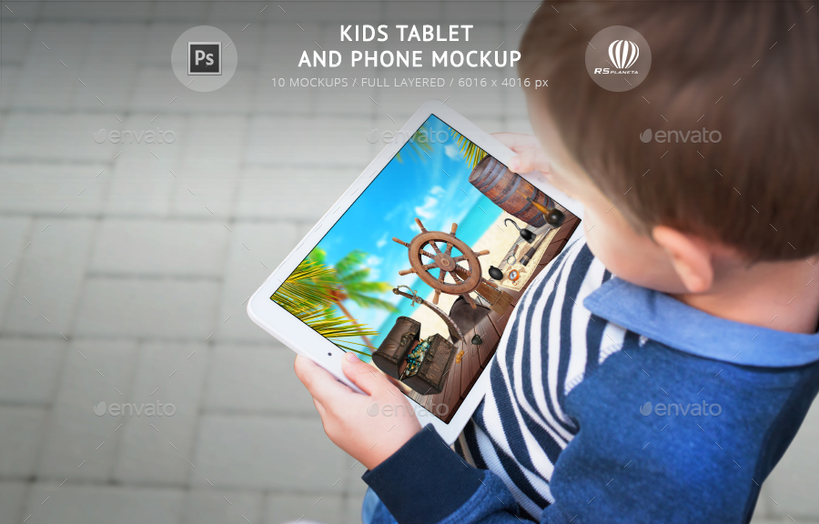kids tablet and phone mockup by rsplaneta