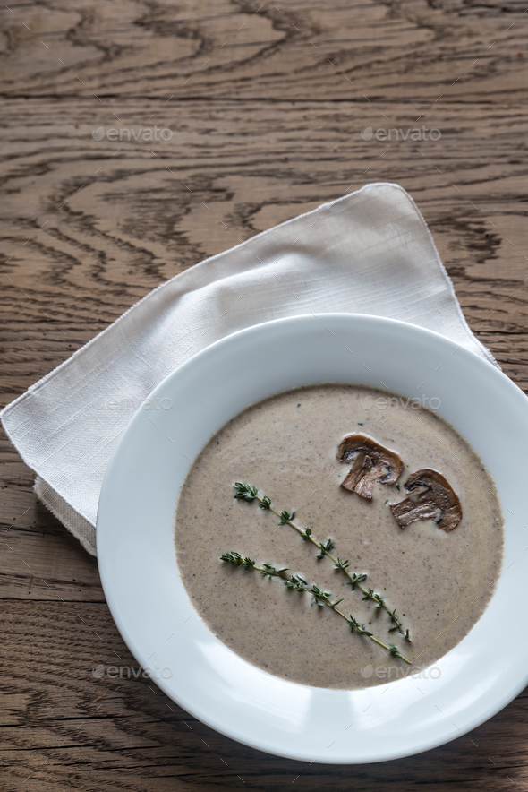 Portion of creamy mushroom soup - Stock Photo - Images