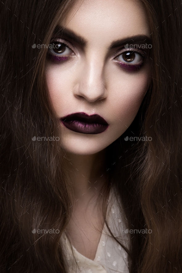 Beauty Fashion Model Girl with Dark Make up. - Stock Photo - Images