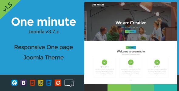 One minute - Responsive One Page Joomla Template - Creative Joomla
