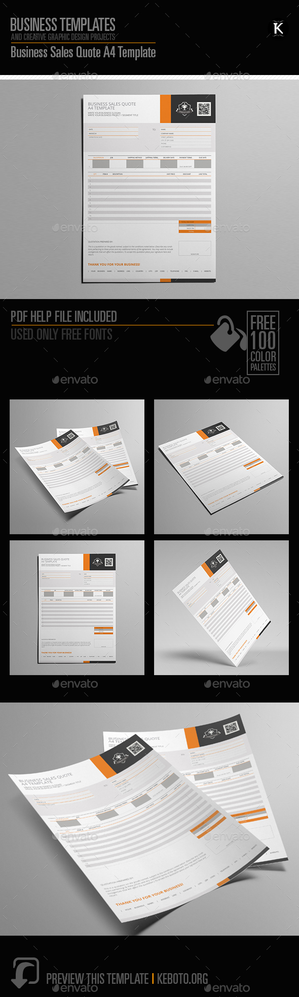 Business Sales Quote A4 Template - Miscellaneous Print Templates