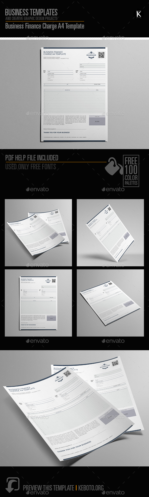 Business Finance Charge A4 Template - Miscellaneous Print Templates