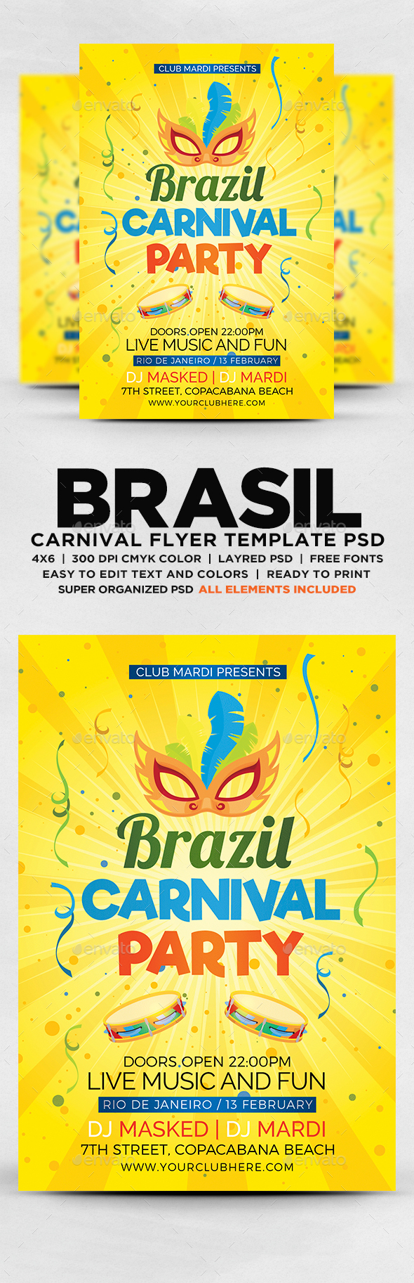 GraphicRiver Brazil Carnival Party Flyer 20619685