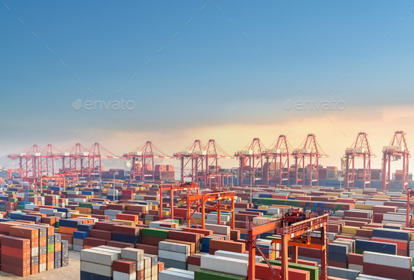 shanghai container terminal at dusk - Stock Photo - Images