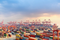 shanghai container terminal at dusk - PhotoDune Item for Sale
