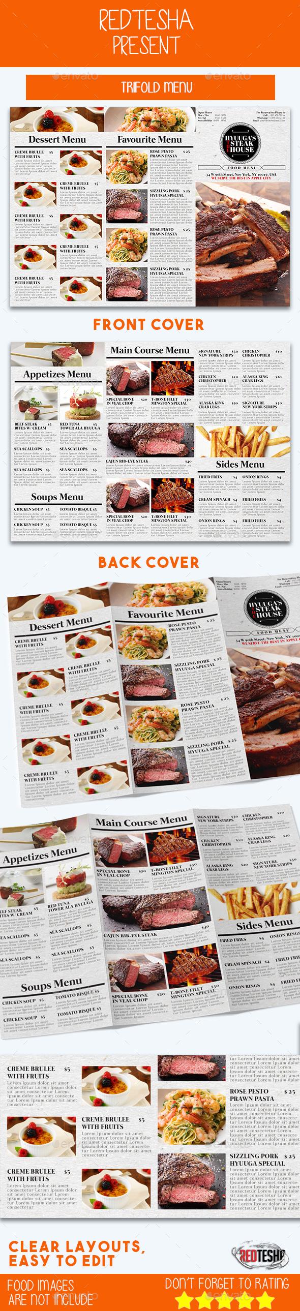 Tri-fold Menu - Food Menus Print Templates