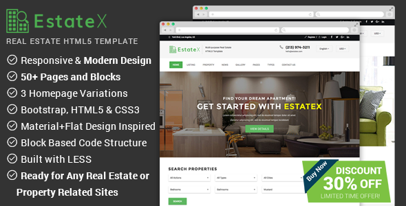 EstateX - Real Estate Website Template - Business Corporate